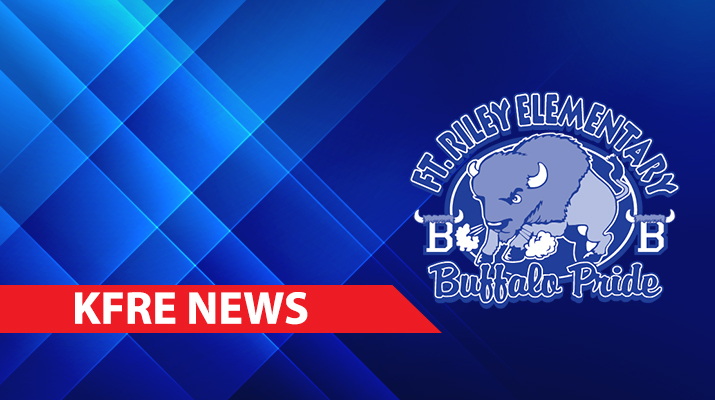 Abstract blue background with buffaloes logo and KFRE NEWS written on a banner.
